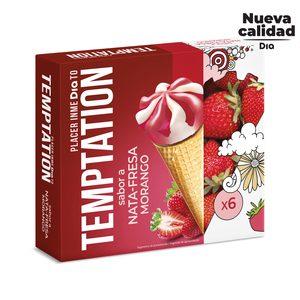 DIA TEMPTATION helado cono sabor nata y fresa caja 6 uds 408 gr