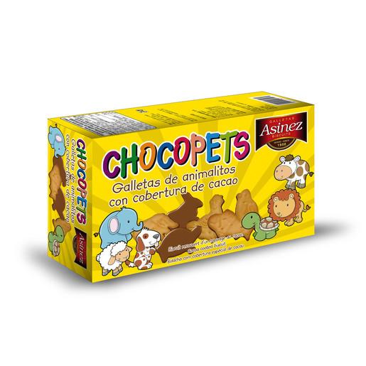 ASINEZ galletas chocopets animalitos con cobertura de cacao caja 200 gr