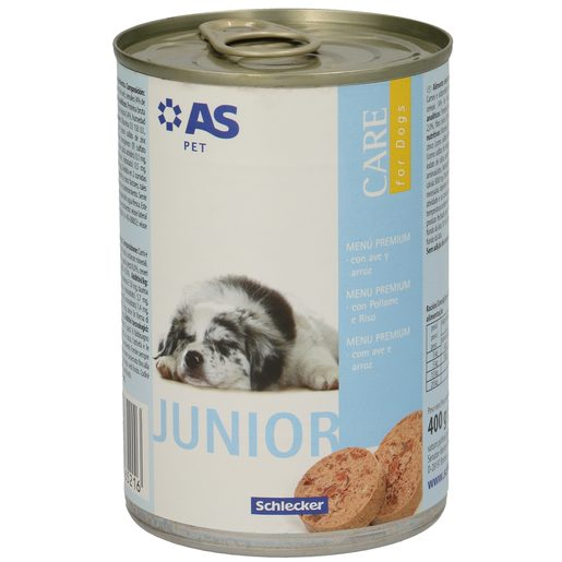AS alimento para perros junior con ave y arroz lata 400 gr