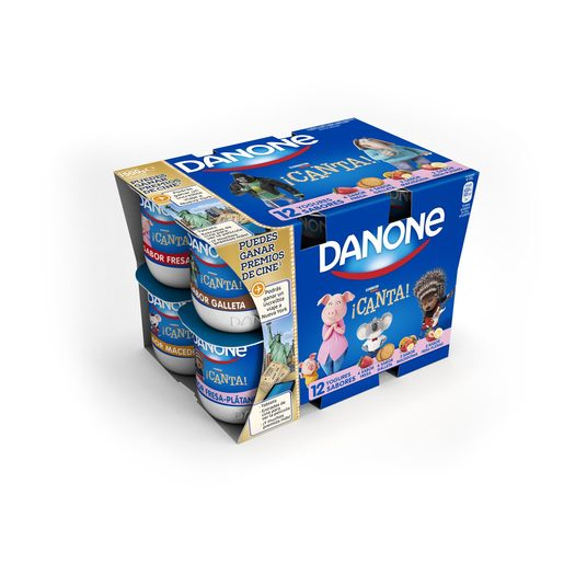DANONE yogur fresa-macedonia-fresa-galleta pack 12 unidades 125 g