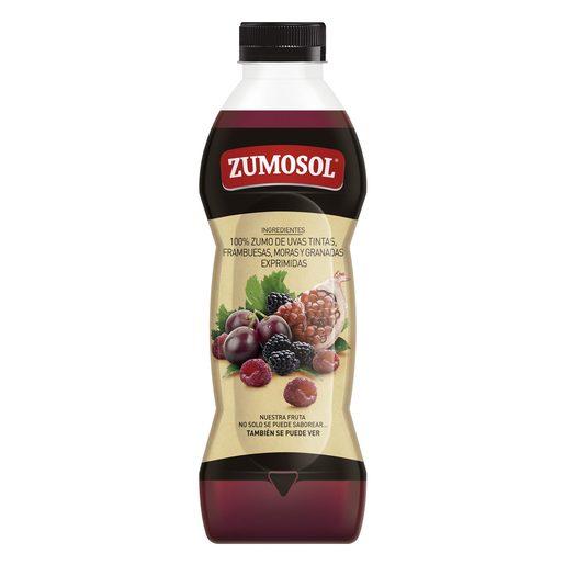 ZUMOSOL zumo exprimido de uvas, moras, frambuesas y granada botella 850 ml