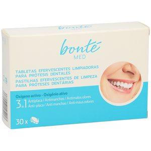 BONTE tabletas efervesentes limpiadoras para prótesis dentales 3 en 1 caja 30 uds