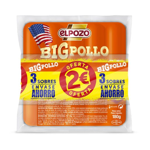 ELPOZO salchichas big pollo pack 2 x 180 gr