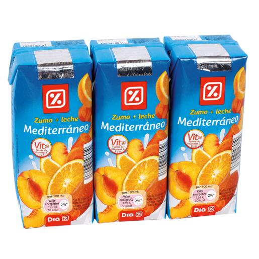 DIA bebida de frutas con leche mediterráneo pack 3 unidades 33 cl