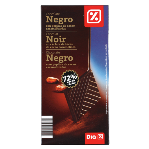 DIA chocolate negro 72% con pepitas choco tableta 100 gr