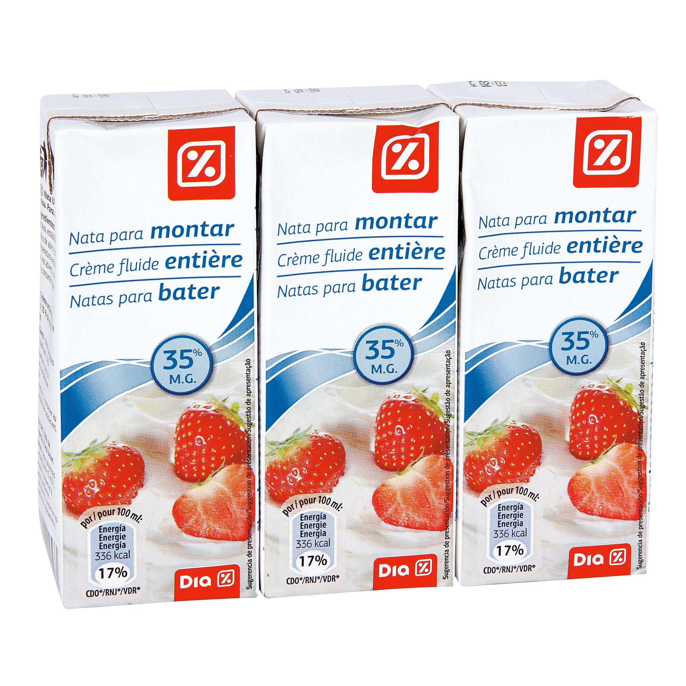 Dia nata para montar pack 3 unidades 200 ml para montar for Nata para cocinar mercadona