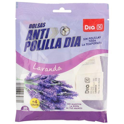 DIA pastillas antipolillas perfume lavanda paquete 20 + 4 uds