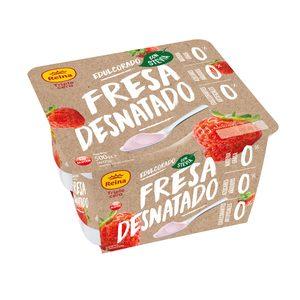 REINA yogur de fresa desnatado triple cero pack 4 uds 125 gr