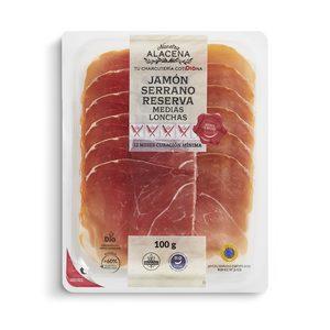 DIA NUESTRA ALACENA jamón serrano reserva en medias lonchas envase 100 gr