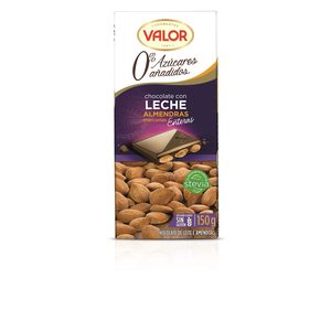 VALOR chocolate con leche y almendras 0% azúcares añadidos tableta 150 gr